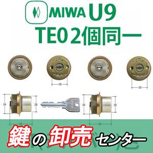MIWA,美和ロック U9TE0シリンダー 2個同一ST(シルバー)色|maji
