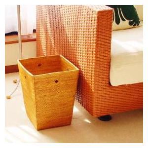 アジアン雑貨 インテリア アタ製 ゴミ箱B(角型・ドットあり) おしゃれ バリ雑貨 makai
