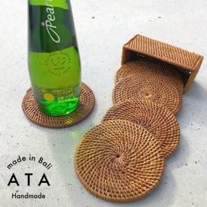 アジアン雑貨 アタ製 コースターセット A(丸型)5枚セット おしゃれ バリ雑貨|makai