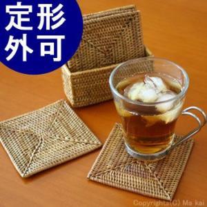 アジアン雑貨 アタ製 コースター5枚セット B(角型) おしゃれ バリ雑貨|makai