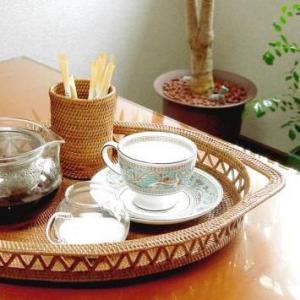 アジアン雑貨 アタ製 トレー(楕円・透かし編み) バリ雑貨 makai