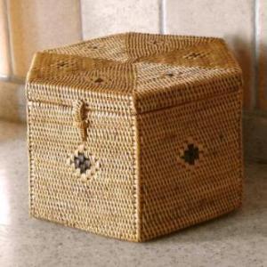アジアン雑貨 インテリア アタ製 六角形ボックス(蓋付き・ドットあり) バリ雑貨 makai