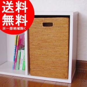 アジアン雑貨 インテリア アタ製 長方形ボックス  大  収納ボックス 収納ケース 取っ手付き バリ雑貨 makai