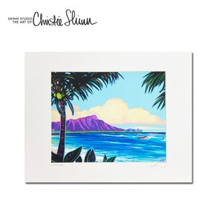 Christie Shinn DIAMOND HEAD AFTERNOON 28.0×35.5cm クリスティー シン アートプリント ハワイアン サーフ アート ハワイアン インテリア 雑貨|makai