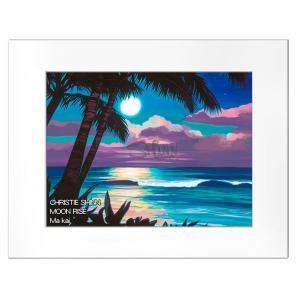 Christie Shinn MOON RISE 28.0×35.5cm クリスティー シン アートプリント ハワイアン アート サーフ アート ハワイアン インテリア ハワイアン 雑貨|makai