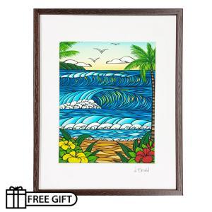 HEATHER BROWN フレーム付き アートプリント A Day in Paradise 28.0×35.5cm ヘザーブラウン ハワイアン 雑貨 ハワイアン インテリア|makai