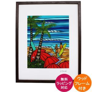 HEATHER BROWN フレーム付き アートプリント Fun In The Sun 28.0×35.5cm ヘザーブラウン ハワイアン 雑貨 ハワイアン インテリア|makai