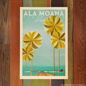 ニックカッチャー Retro Hawaii Travel Print「Ala Moana Beach...