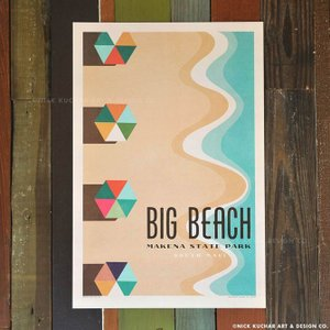 ニックカッチャー Retro Hawaii Travel Print「Big Beach, Make...