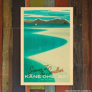 ニックカッチャー Retro Hawaii Travel Print「Kaneohe Bay San...