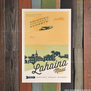 ニックカッチャー Retro Hawaii Travel Print「Lahaina, Maui」3...
