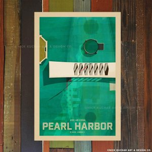 ニックカッチャー Retro Hawaii Travel Print「Pearl Harbor US...