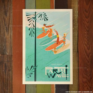 ニックカッチャー Retro Hawaii Travel Print「Canoes Waikiki ...