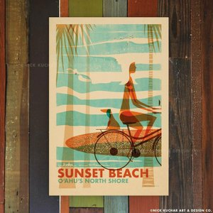 ニックカッチャー Retro Hawaii Travel Print「Sunset Beach Wa...