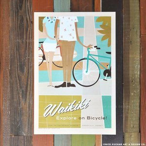 ニックカッチャー Retro Hawaii Travel Print「Waikiki, Fun on...