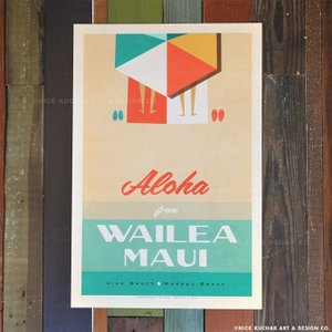 ニックカッチャー Retro Hawaii Travel Print「Wailea, Maui」30...