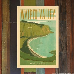 ニックカッチャー Retro Hawaii Travel Print「WAIPI'O VALLEY」...