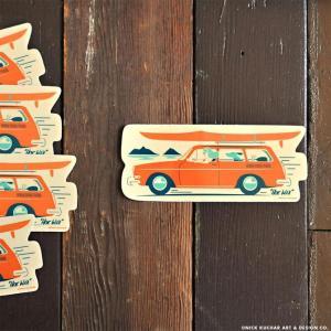 Nick Kuchar Sticker Hoe Wa'a ステッカー シール 単品 ハワイアン雑貨 ニック カッチャー サーフ アート レトロ makai