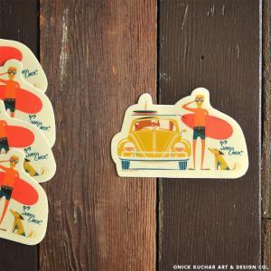 Nick Kuchar Sticker Surf Check ステッカー シール 単品 ハワイアン雑貨 ニック カッチャー サーフ アート レトロ makai