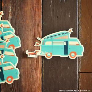 Nick Kuchar Sticker Van Life ステッカー シール 単品 ハワイアン雑貨 ニック カッチャー サーフ アート レトロ makai
