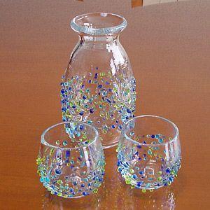 琉球ガラス つぶつぶ 徳利(青緑系)&ぐい呑み2個セット/冷酒|makai