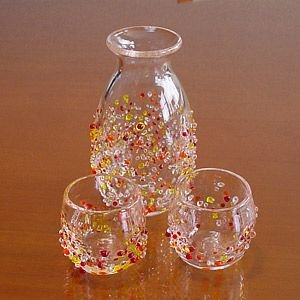 琉球ガラス つぶつぶ 徳利(オレンジ系)&ぐい呑み2個セット/冷酒|makai
