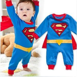 スーパーマンコスチューム 70サイズ マント付き(取り外し可)ベビー服 ロンパース カバーオール 赤...