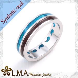 ハワイアンジュエリー jewelry リング 指輪 レディース メンズ シンセティック オパール レッドウッド コンビ シェル|makanilea-by-lma