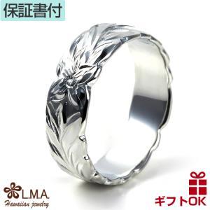 ハワイアンジュエリー jewelry 指輪 ペアリング pairing レディース メンズ シルバー925 6mm マイレ柄 プルメリア|makanilea-by-lma