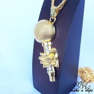 マイク MIC フリースタイル MCバトル ジルコニア GOLD ゴールド 金 ネックレス ヒップホ...