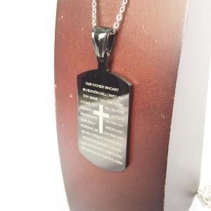 ■TITLE■ クロス ドッグタグ DOG TAG バイブル 聖書 十字架 黒 ブラック プレート ...