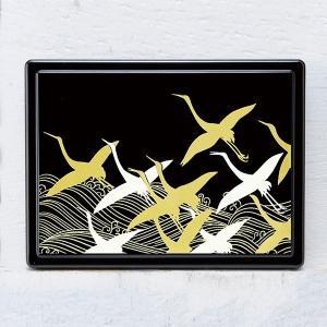 1509-02-01 蒔絵付箋ケース 波に鶴(黒)|makie