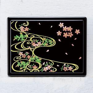 1509-02-08 蒔絵付箋ケース「雅」 スワロフスキー桜に流水紋(黒)|makie