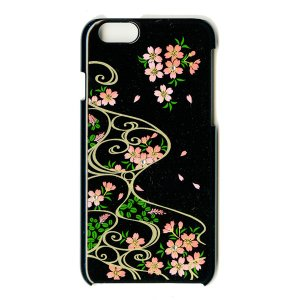 蒔絵  iPhone6 Plusケース/桜に流水紋(黒)|makie