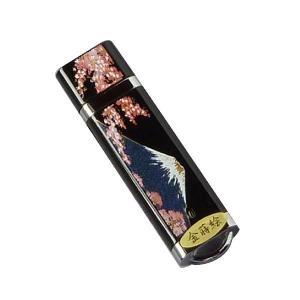 漆器(蒔絵)仕上げ 4GB ギフト用USBフラッシュメモリー・桐箱入り・富士と桜|makie