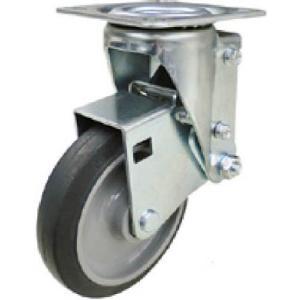 ユーエイ クッションキャスター 125径 自在車 ストッパー付 ゴム車輪 SHSKYS125NRBDS30|makinokikou