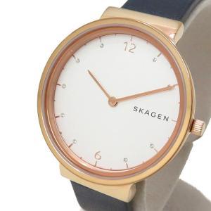 SKAGEN/スカーゲン アンカー SKW2608 腕時計 GP/ステンレススチール/ネイビー革ベルト クオーツ ホワイト文字盤 レディース|mako78