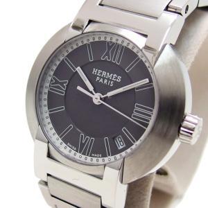 HERMES/エルメス ノマード NO1.210 腕時計 ステンレススチール 黒 レディース