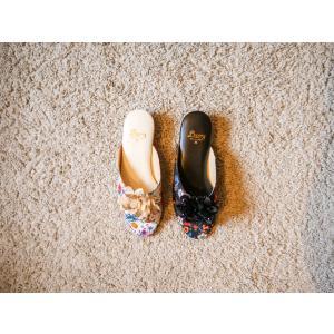 サテン花柄フラワー飾り室内スリッパNo2220|makoto-lucy