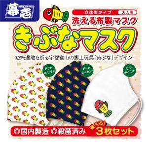 疫病退散「黄ぶな」洗える布製マスク 柄が選べる3枚セット |makuichi