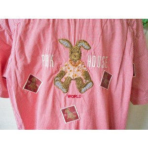 ピンクハウス PINKHOUSE アロハウサギ & ロゴ 刺繍 の 可愛い ワッペン 付き ギンガム...
