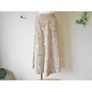 ピンクハウス PINKHOUSE お花 と 水玉 プリント が 素敵 な ロング スカート