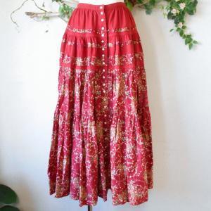 ピンクハウス PINKHOUSE 籠盛り イチゴ プリント 切替 入り ロング スカート 日本製