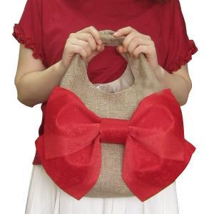 存在感あるリボン♪日本製☆麻バッグ・リボン付♪ かごバッグ 夏祭り 花火大会 mamav