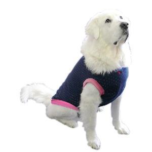犬服 ドッグウェア 3.5Lサイズ(超大型犬) DOGタンクトップ 紺水玉♪ ポイント10倍 レターパック送料無料(代金引換別途送料600円〜)|mamav