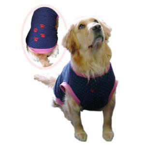 犬服 ドッグウェア Lサイズ(中型犬) DOGタンクトップ 紺水玉♪ ポイント10倍 メール便送料無料(代金引換別途送料600円〜)|mamav