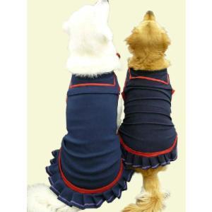 犬服 ドッグウェア 3.5Lサイズ(超大型犬) DOGタンクトップ セーラー・プリーツ ポイント10倍 レターパック送料無料(代金引換別途送料600円〜) mamav