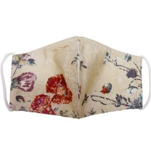 布マスク おしゃれ 日本製 ベージュフラワー 洗えるマスク mamavオリジナル ゆうパケット送料無料(代引不可)|mamav