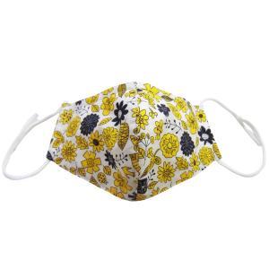 ファッションマスク ガーゼマスク フルカバーマスク 日本製 花鳥イエロー 洗えるマスク デザインマスク mamavオリジナル メール便送料無料(代引不可)|mamav