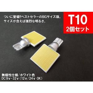LED T10 横型 汎用 ルームランプ 12V 24V 両対応 面発光 COB BIG版|mameden